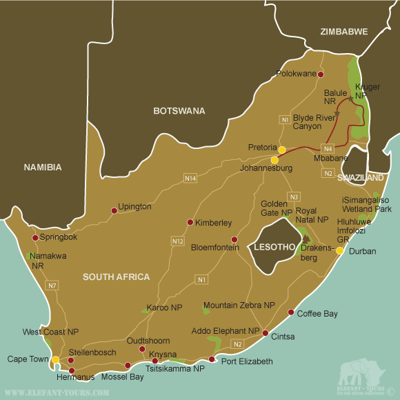 Map Kruger-Park-and-Balule-Game-Reserve
