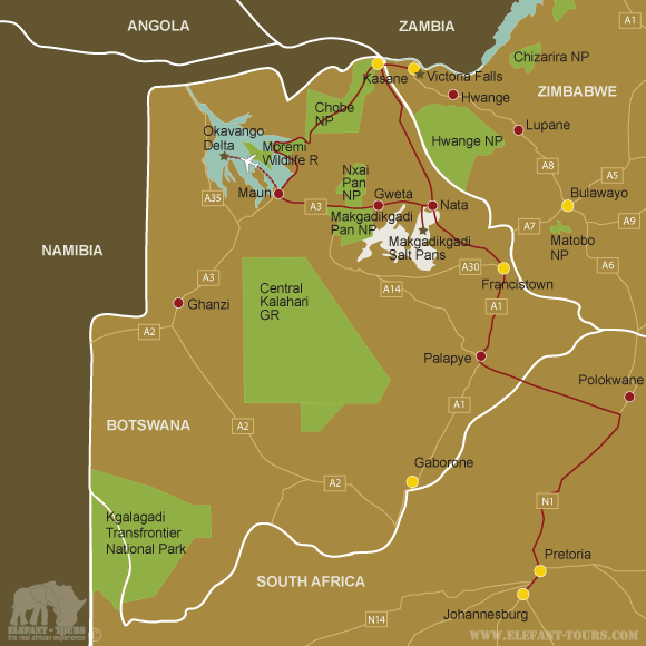 Map Botswana-Highlights