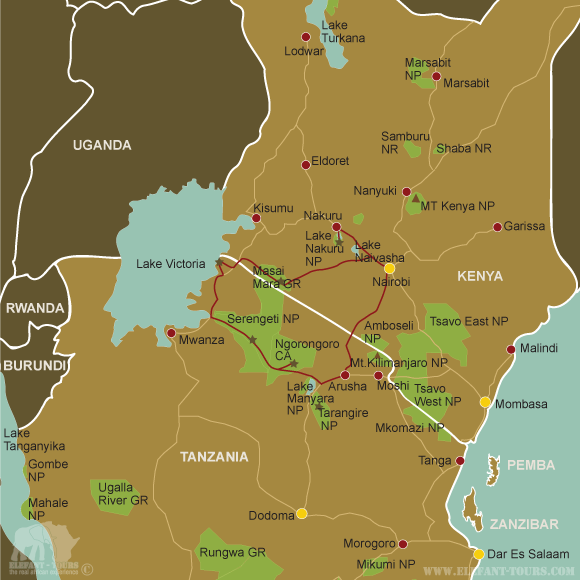 Map Kenya-and-Tanzania-Highlights