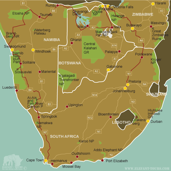Map Cape-Town-to-Victoria-Falls