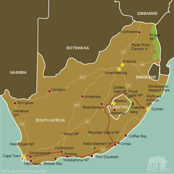 Map On-the-Garden-Route-to-Durban
