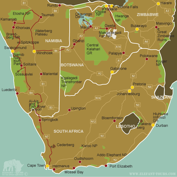 Map Overland-from-Cape-Town-to-Victoria-Falls
