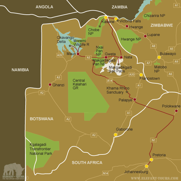 Map Botswana-Overland-Accommodated